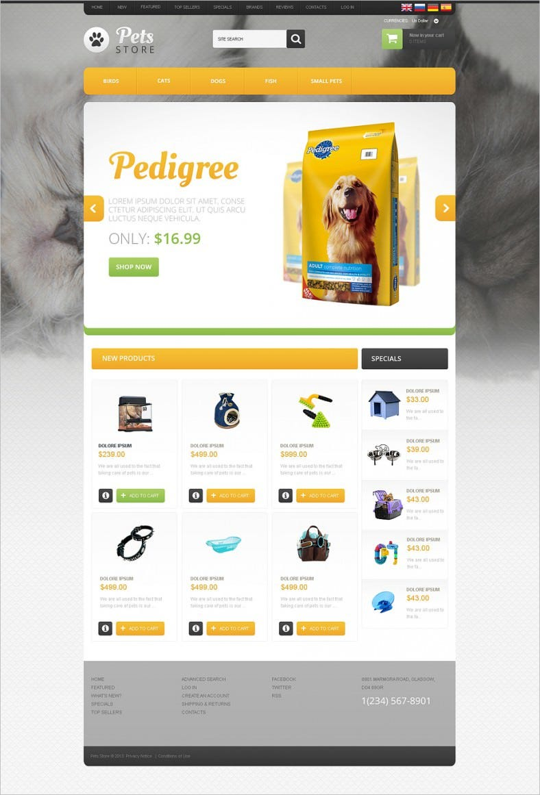 goods for pets oscommerce template 788x1161