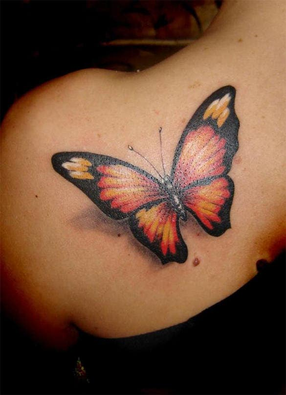 gorgeous 3d butterfly tattoo design