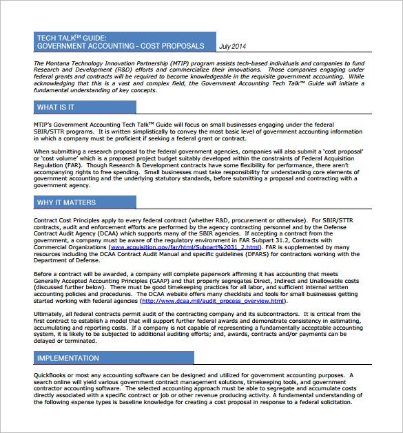 government cost proposal pdf template