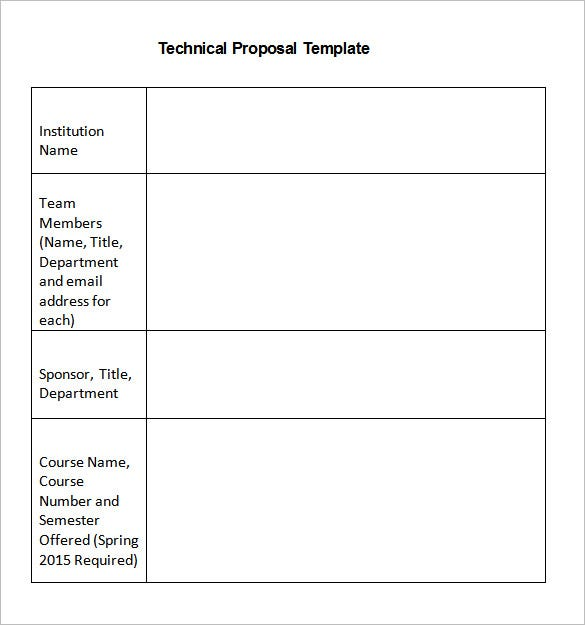 Technical Proposal Template 13 Free Sample Example Format – Proposal Form Template