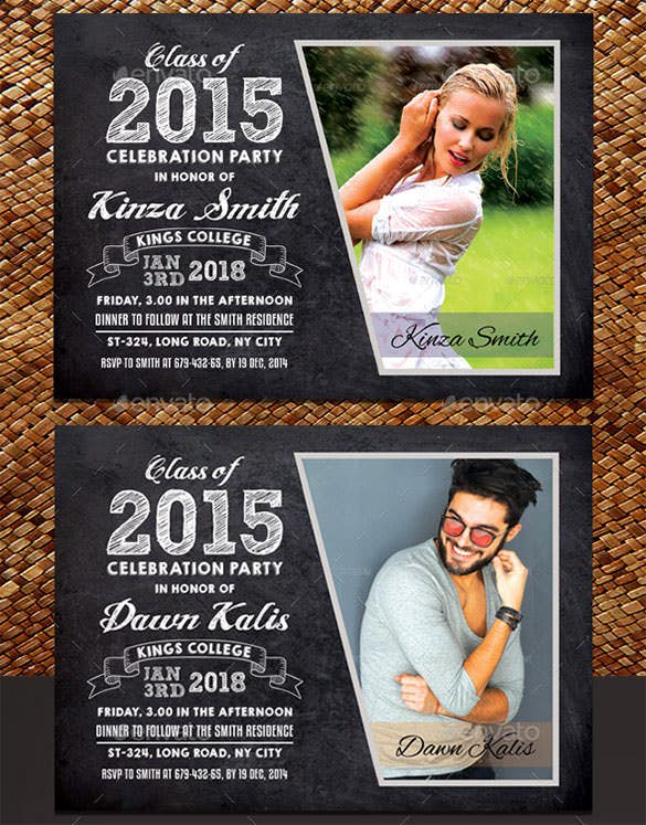 graduation announcement card psd template download