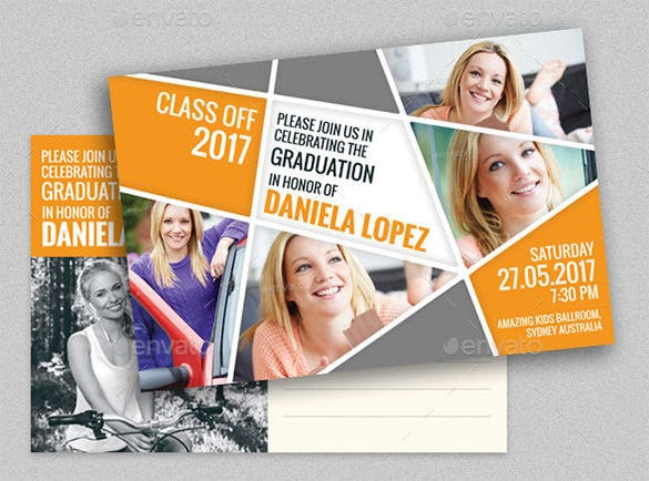 graduation party post card psd template
