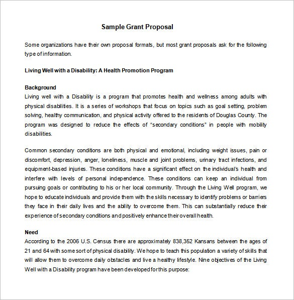 Grant Proposal Template   Free Sample Example Format