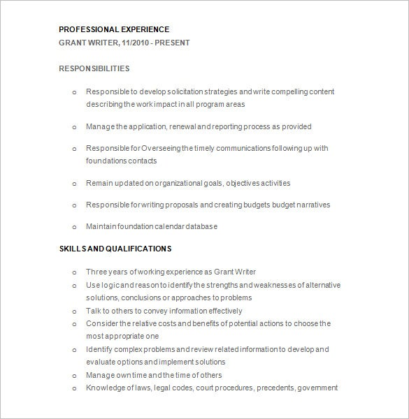 grant writer resume free download