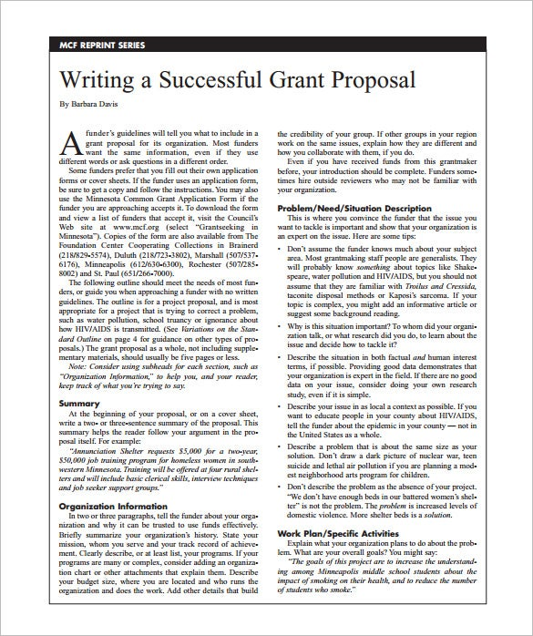 grant writing proposal pdf