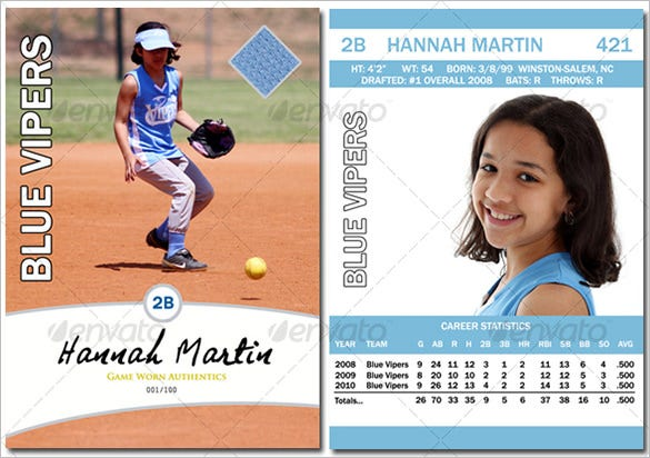 Graphic Baseball Card Template PSD Design