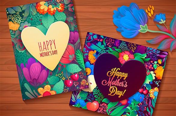 graphics floral mothers day card template illustration