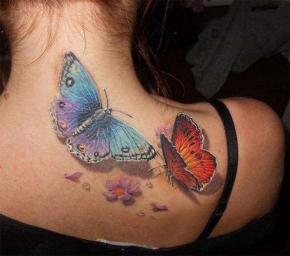 great 3d butterfly tattoo design