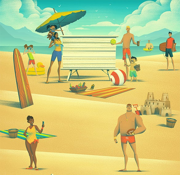 great big family reunion summer illustration