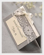 grey lace place name card