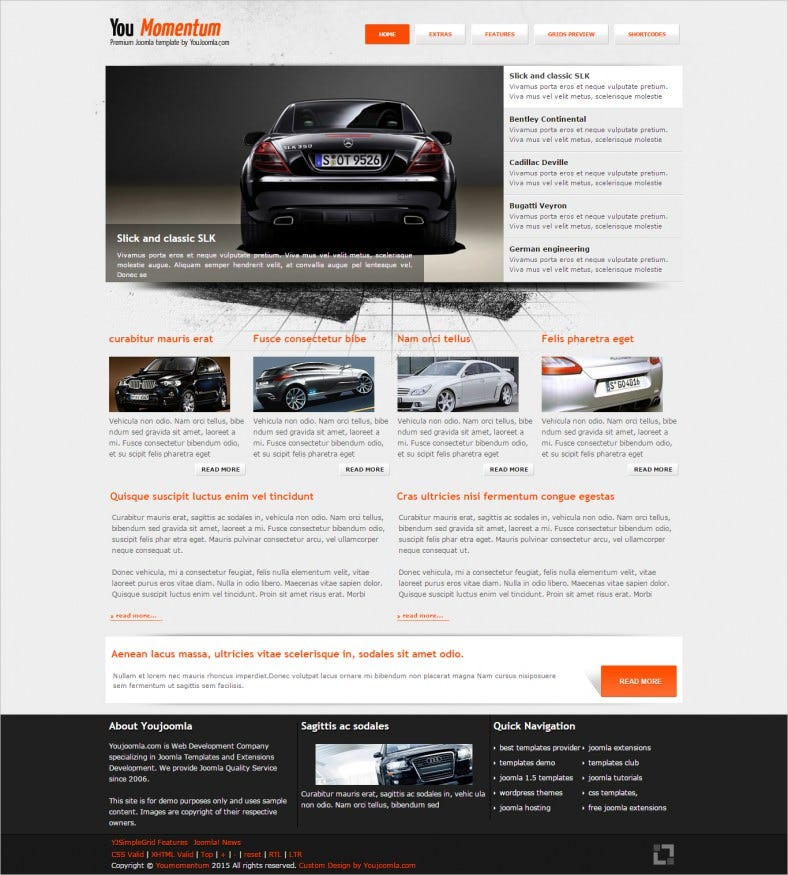 Grid Framework Free Joomla Template for Car Club