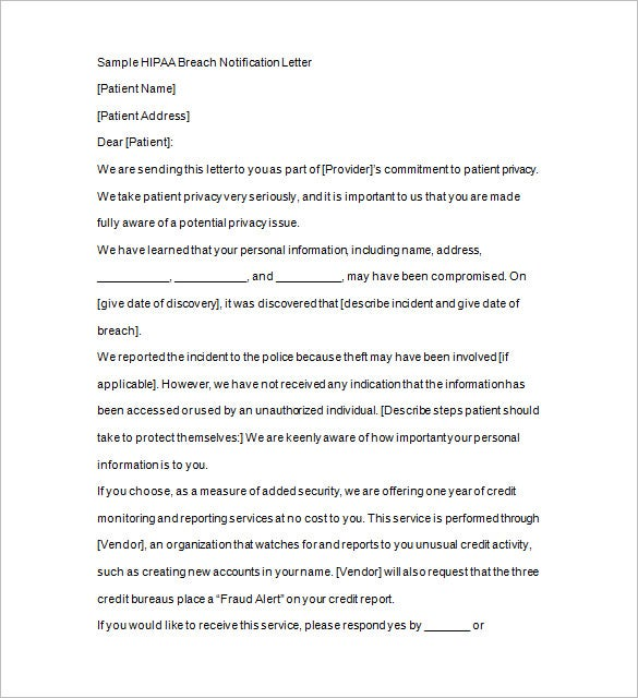 hippa breach notice letter excel format