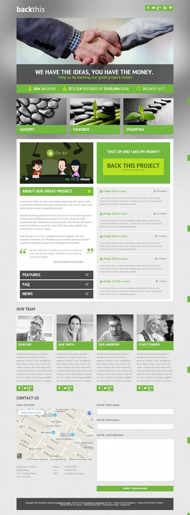 HTML5 Crowdfunding Landing Page Template
