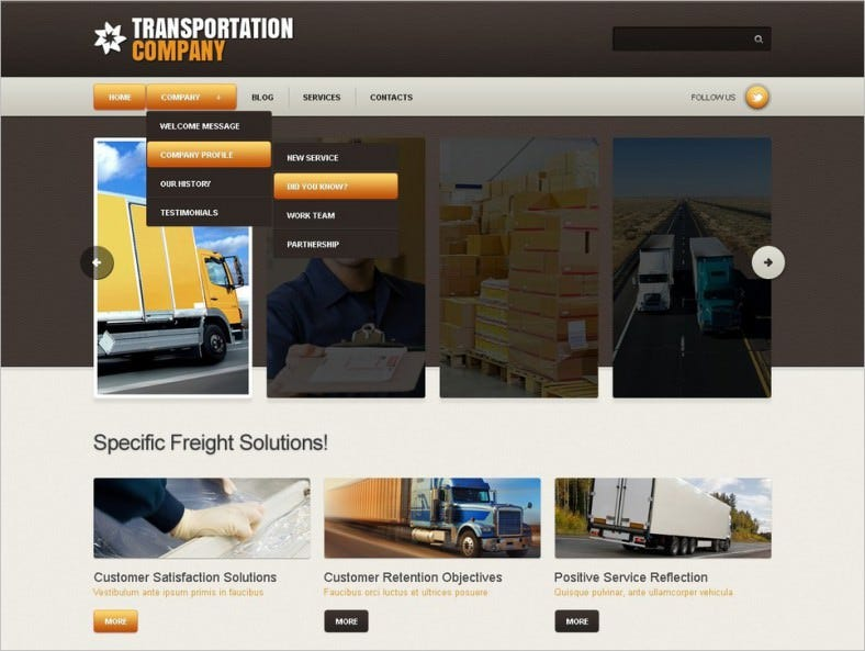 HTML5 Transportation Joomla Website Template