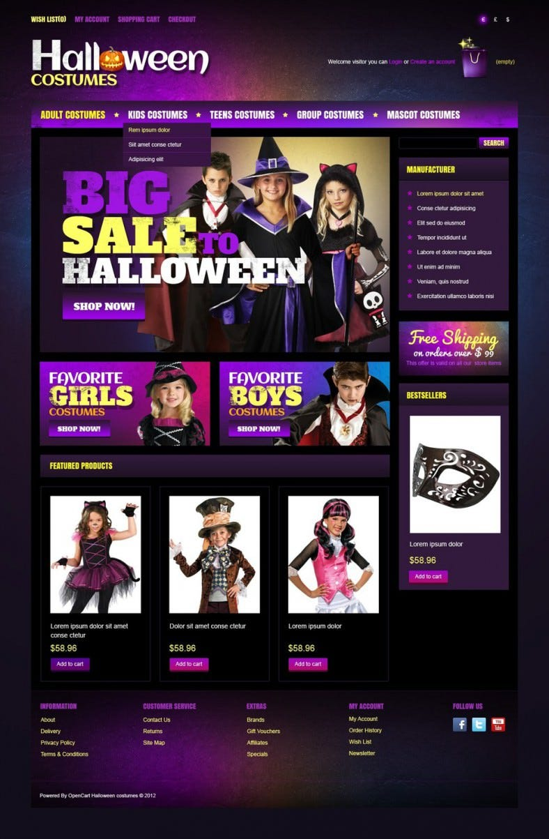 halloween costumes opencart template 788x1203