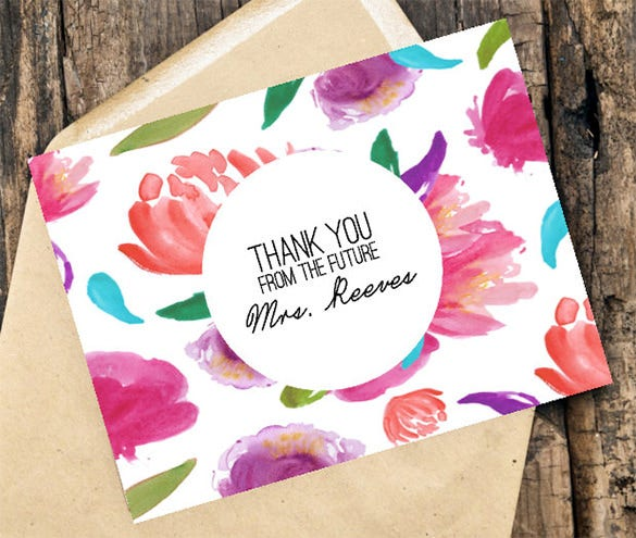 handpainted floral bridal shower thank you card
