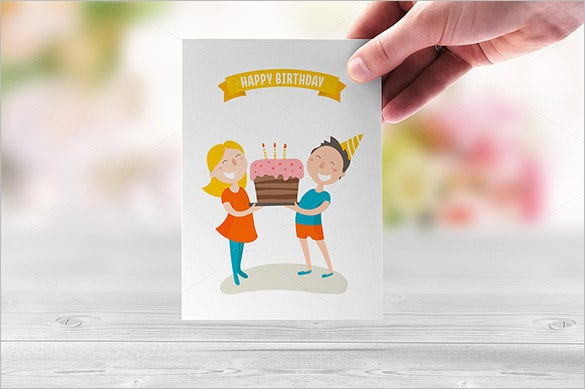 happy birthday gift card illustration