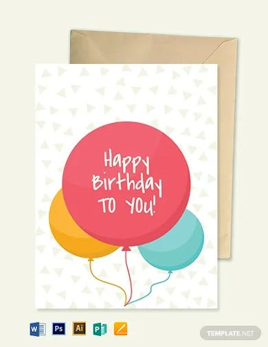 happy birthday greetings card template