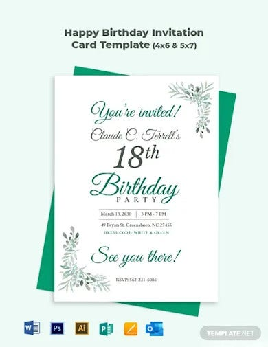 happy birthday invitation card template