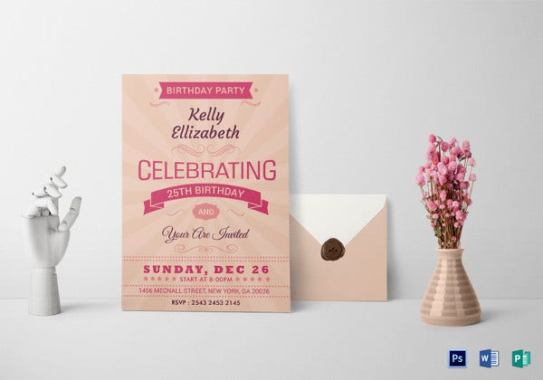happy retro birthday party invitation card psd template
