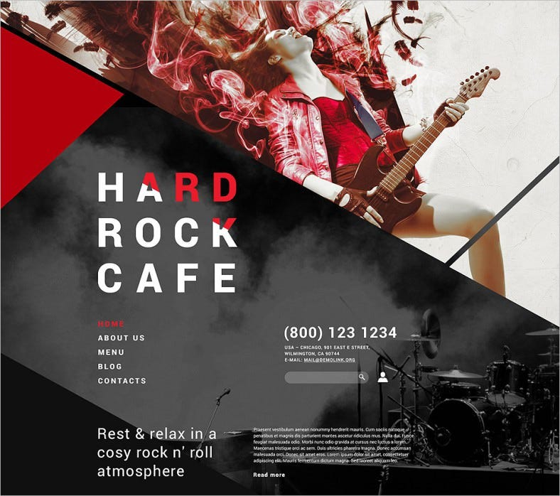 hard rock cafe joomla template 788x698