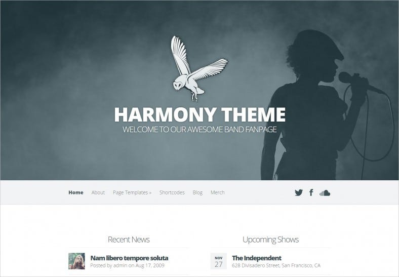 harmony band wordpress theme 788x547
