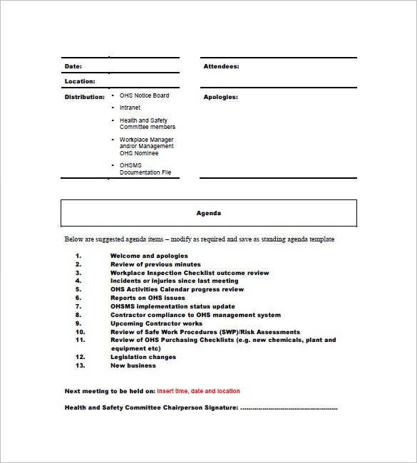 health and saftey committee meeting minutes template