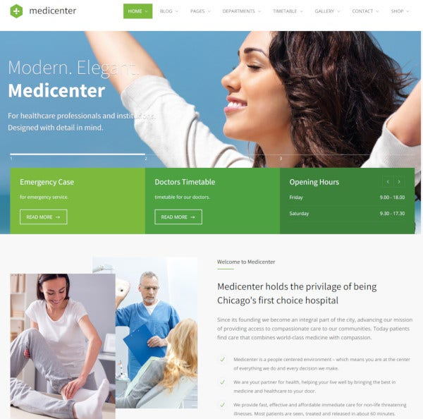 health medical clinic wordpress theme