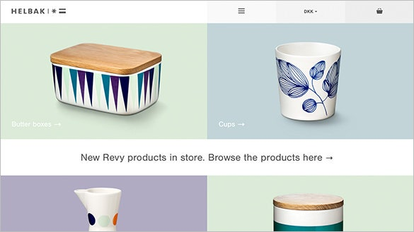 helbak ceramics flat design website