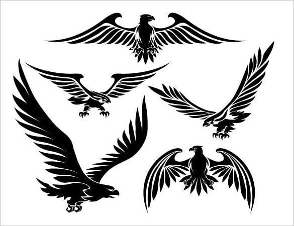 heraldic eagle black tattoo illustration1