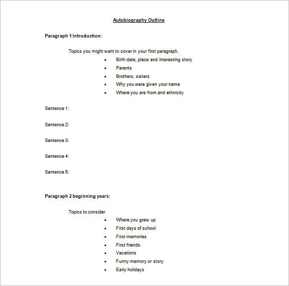 7 Autobiography Outline Template DOC PDF Free Premium Templates