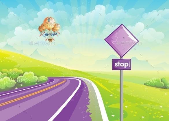 highway summer illustration psd download