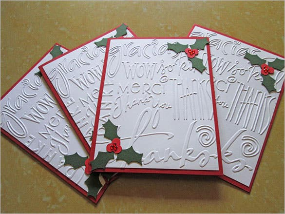 holiday thank you embossed card