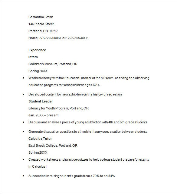 Sample resume of private tutor