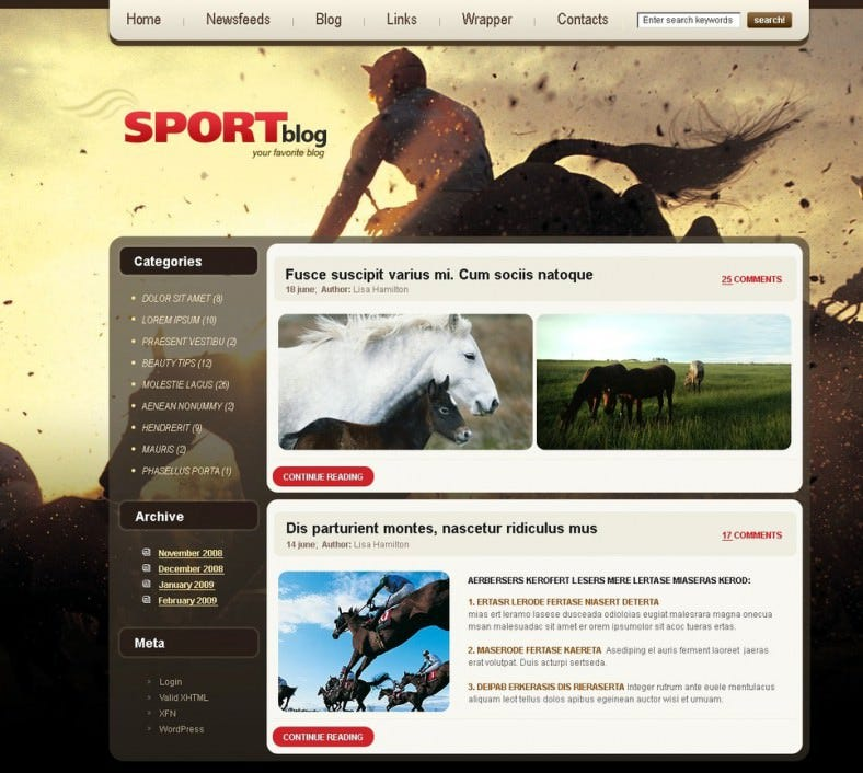 Horse Racing Blog PSD Template