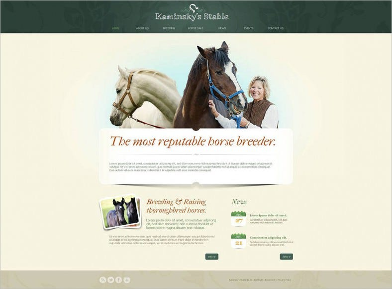 horse racing moto cms html template 788x580