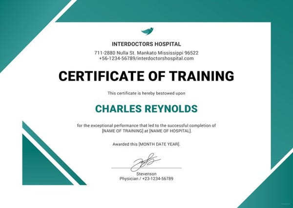 Beautiful Hospital Training Certificate Template