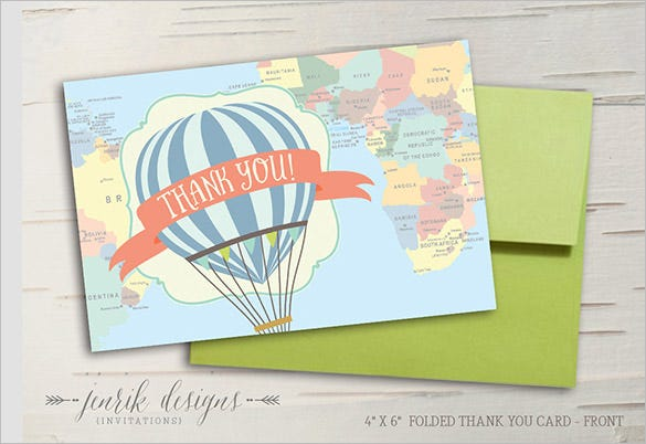 hot air balloon travel thank you card