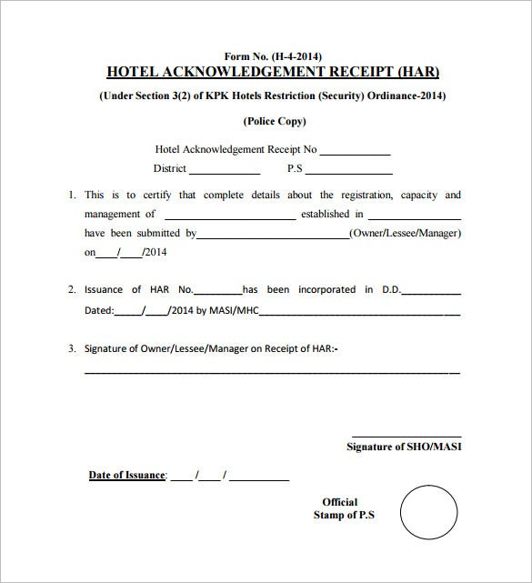 hotel acknowledgement receipt pdf download
