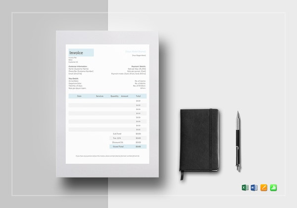 Hotel Invoice Templates Free Word Excel PDF Format Download - Hotel invoice format free download
