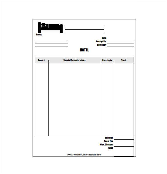 Hotel Receipt Template 12 Free Word Excel PDF Format Download – Bill Payment Receipt Format