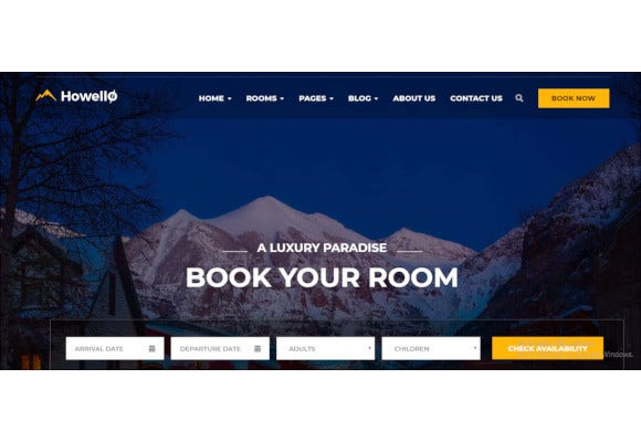 hotel and resort wordpress theme