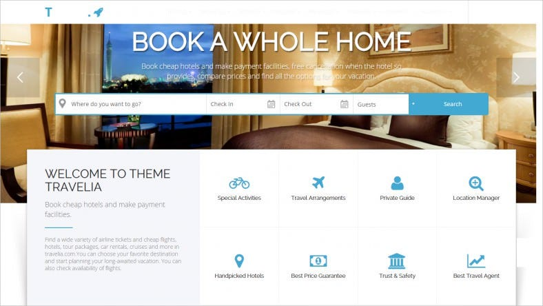 Hotels WordPress Theme with Responsive Layout