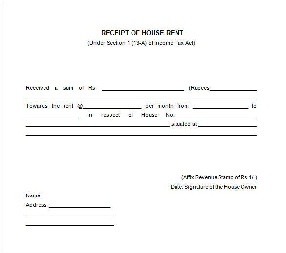 house rent receipt format in india