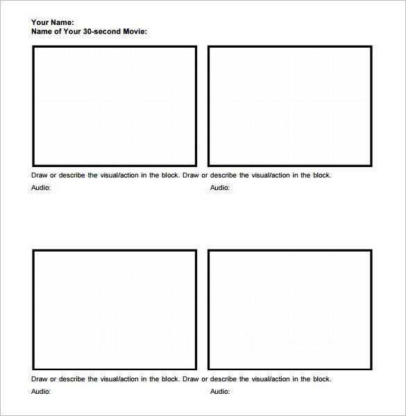 Movie Storyboard Template   Free Sample Example Format