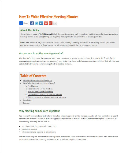 minutes of meetings template