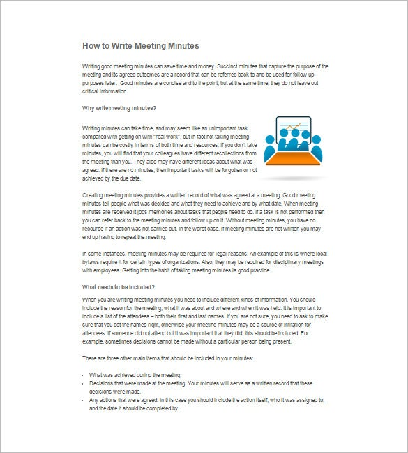 how to write business minutes