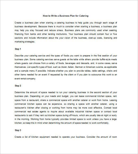 catering business plan samples free pdf