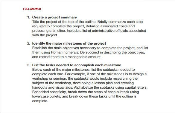 Project outline template 8 free word excel pdf format for How to write a project plan template