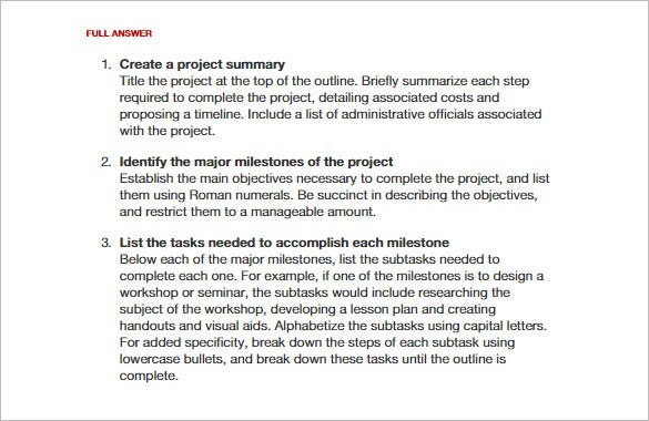 how to write a project outline